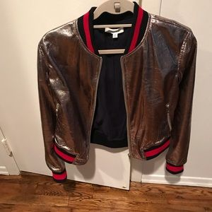 Honey punch rose gold bomber jacket